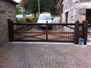 Timber Sliding Automated Driveway Gates South West
