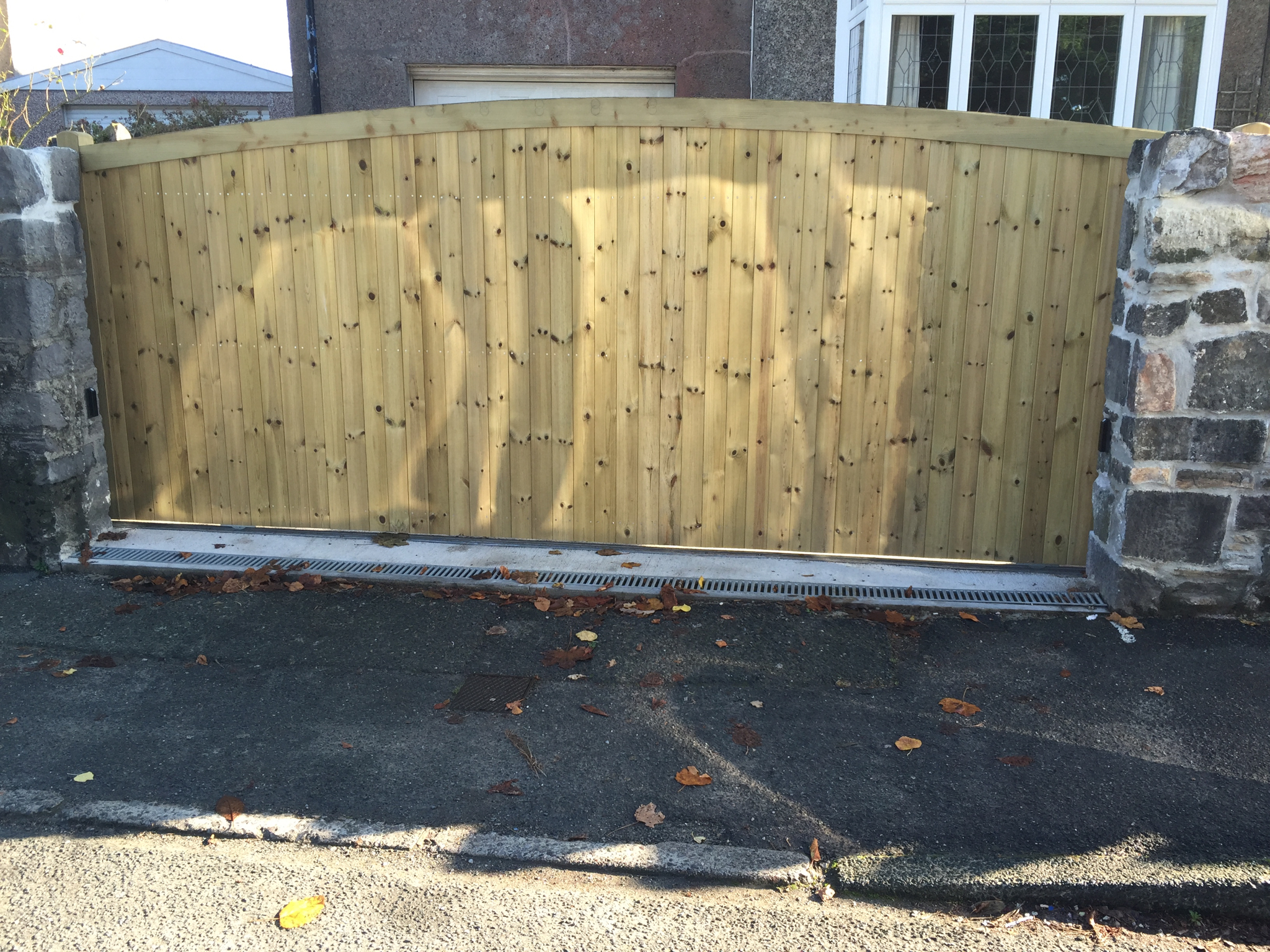 Softwood Sliding Gate On Steel Frame In Plymouth South