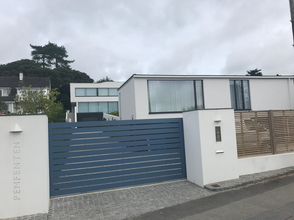 Aluminium Sliding Gate installed in Rock, Cornwall. BFT Sliding Motor